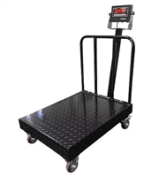 "1000 lb x 0.2 lb Bench Scale 32"" x 24""  - NTEP Diamond Plate Cover with Backrail and Wheels"